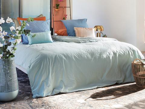 Sleeplife dekbedovertrek Garment Dyed Washed percale groen sfeer